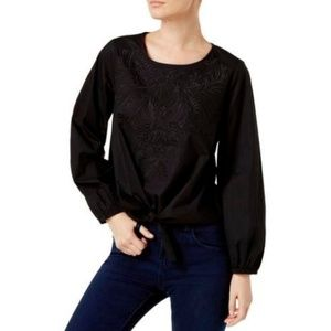 INC Womens Woven Embroidered Pullover Top Black